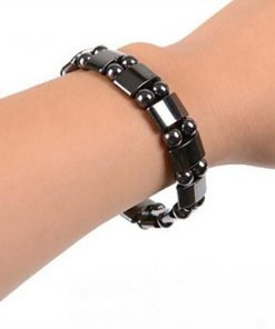Weight Loss Round Black Stone Magnetic Therapy Bracelet m1